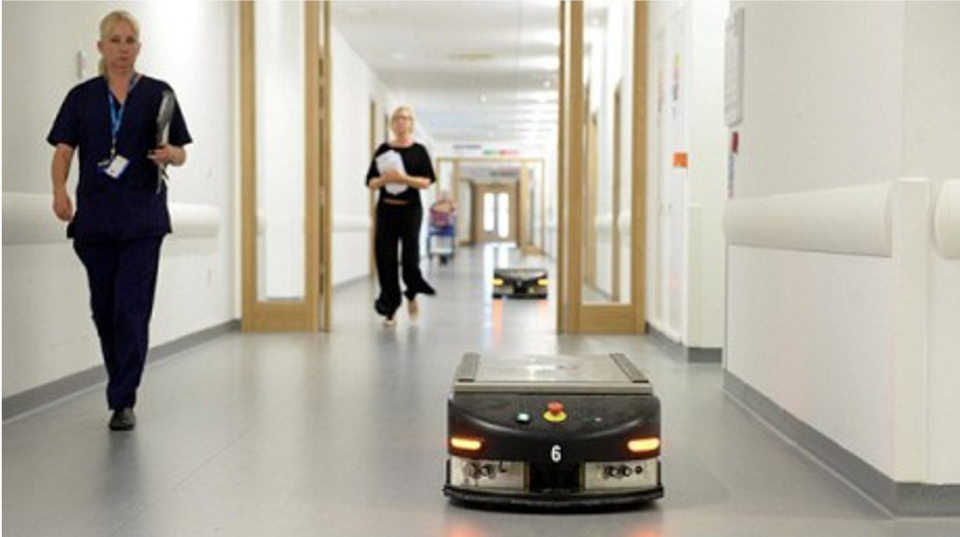 Mobile robots in a hospital setting