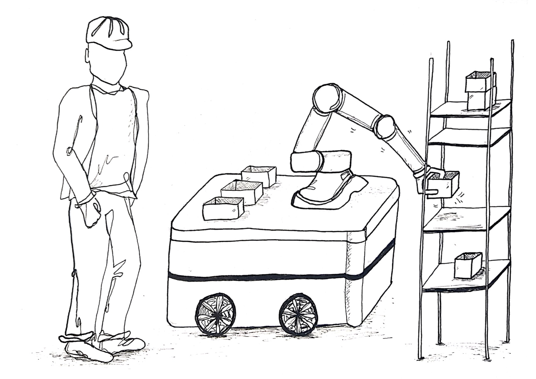 An AMR with a mounted collaborative robot picking up boxes